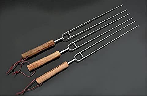 Holzsammlung® 3 Pcs Stainless Steel Barbecue Skewers Set - Wide BBQ Kabob Grilling Sticks with (4 Acciaio Inossidabile Spiedini)
