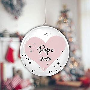 """Weihnachtskugel""""Papa 2020″ aus Kunststoff, ca 8cm Durchmesser, Geschenk Weihnachten für Ehemann, Freund, zukünftigen Papa"""