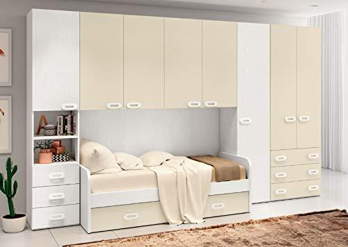 Cameretta ponte mod. zanzibar reversibile colore in foto: bianco frassinato - avorio.