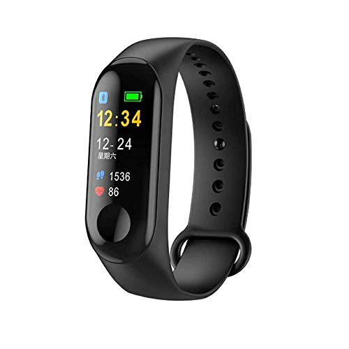QQEG Fitness Tracker Bluetooth Smart Bracelet with Heart Rate Monitor, Sleep Monitor, Step Counter Activity Color Screen (Black)