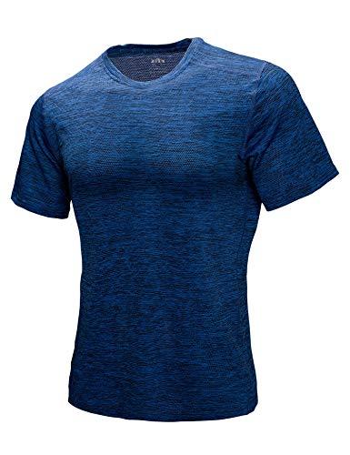 Tee Hülse Umschließt (ZITY Herren T-Shirt, kurzärmelig, Rundhalsausschnitt, atmungsaktives Mesh-T-Shirt - blau - Groß)