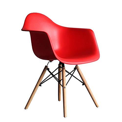 LYXPUZI Stuhl - Kunststoff |Dining Office Lounge Chair |Esszimmerstühle im modernen Design |Esszimmerstühle Schwarz, Blau, Grün, Rosa, Rot, Weiß, Gelb Lounge-Stühle (Color : Red) - Rote Moderne Lounge-stühle