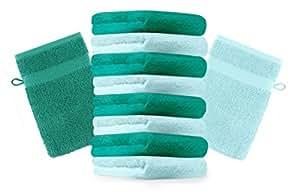 10er Pack Waschhandschuhe Waschlappen Premium Größe 16x21 cm Farbe Türkis & Smaragd Grün Kordelaufhänger 100% Baumwolle