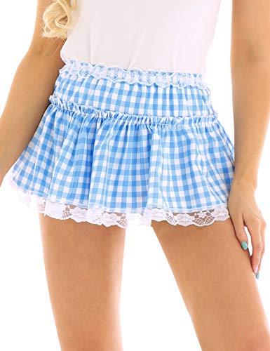 TiaoBug Mini Jupe Femme Respirant Lingerie Serré Extensible Jupon Courte Jupe de Nuit Jupe pour Clubwear Danse Bal (S, B Bleu)
