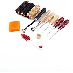 Artesanía - Herramientas para coser cuero - Manualidades - Bricolaje familiar - Kit de 7 piezas con hilo y agujas, QL-13PGTJ