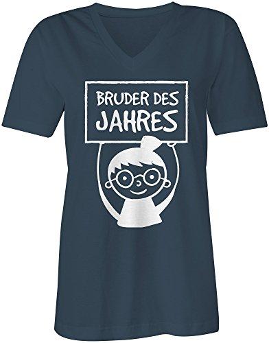 Bruder des Jahres ★ V-Neck T-Shirt Frauen-Damen ★ hochwertig bedruckt mit lustigem Spruch ★ Die perfekte Geschenk-Idee (03) dunkelblau