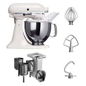 Kitchenaid KSM150PSEWH + MVSA + EMVSC Kitchenaid 5KSM150PSEWH Küchenmaschine Serie Artisan plus Zubehör mit 3 Trommeln, weiß