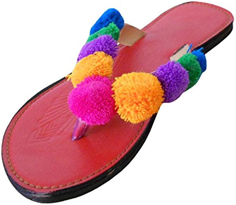 kalra Creations Mujer Tradicional abierto zapatillas de piel étnico Pisos