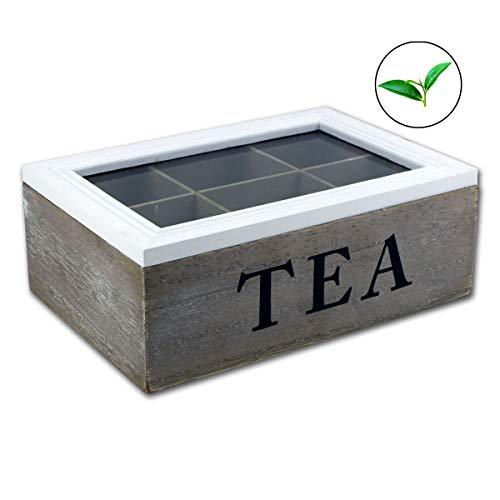Teebox Teekiste weiß und grau antik gewischt Glas Holz Vintage Shabby Chic Design mit Sichtfenster EE - BR (2)