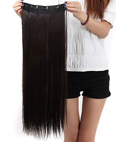 S-noilite, Extension dei capelli, 1 pezzi con 5 clips, 3/4 testa piena, colore: Marrone scuro, dimensioni: 76cm-dritto