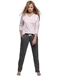 SENSIS stilvoller Baumwoll-Pyjama (Made in EU) Schlafanzug Hausanzug aus feinem T-Shirt und bequemer Hose