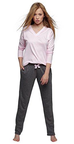 Sensis stillvoller Baumwoll-Pyjama Schlafanzug Hausanzug aus feinem Langarm T-Shirt und bequemer Hose, rosa, Gr. XL (42)