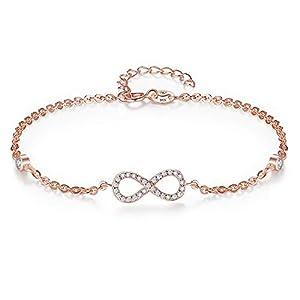 EVER FAITH® 925 Bling Figura 8 Infinity catena argento Sterling Bracciale CZ pavimenta - in oro rosa placcato N06390-1