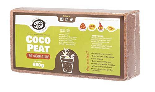 650g (9L) Fibre de coco pressé | Sans tourbe | 100% pure | Substrat de noix de coco pour terrarium | Terre de coco pour Fleurs | Terreau pour fruits, légumes | Aucun additif de fertilisant