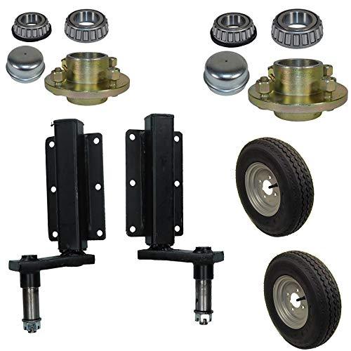 AB Tools 350kg Anhänger Suspension Unit (Paar) & Gussrad Hubs & 400-8 Räder 4