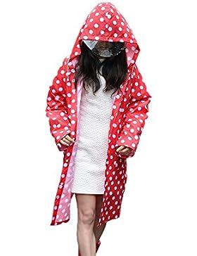 Mujer Impermeable lluvia Abrigos,Feicuan Adultos Chubasquero Rainwear Dot Poncho Waterproof Outdoor with Two Pockets