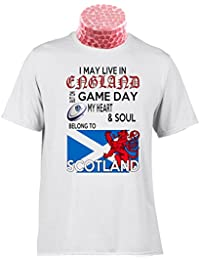 SCOTLAND RUGBY TEE SHIRT, I May Live In England but on Matchday My Heart And Soul Belong to Scotland Rugby. Fantastic gift for fans of Scottish Rugby (XXXL)
