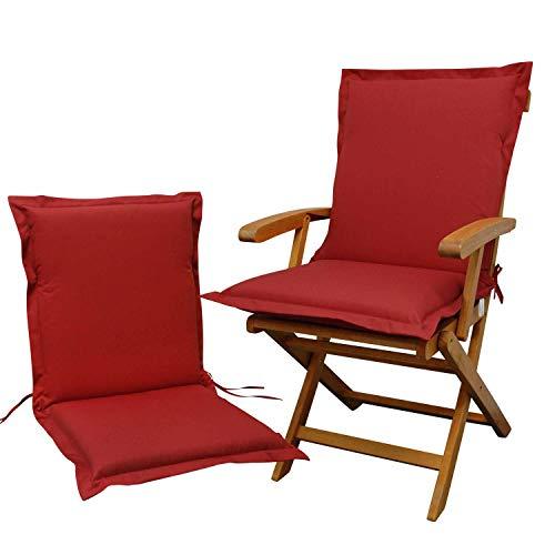 Indoba 2 x Sitzauflage Niederlehner Premium-extra dick Serie Premium-IND-70431-AUNL-2 Polsterauflage, Rot -