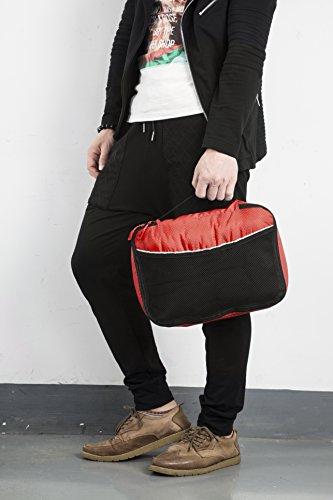 Packwürfel Kleidertaschen Packing cubes Koffertaschen für angenehmes Reisen und aufgeräumte Koffer -Große und mittelgroße Taschen zum Schutz und zur Komprimierung von vielen Kleidungsstücken, Schuhen  Med-Red