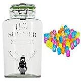 esto24 Hochwertiger Getränkespender aus Glas mit Schriftzug 3 Liter mit Zapfhahn Glasdeckel inkl. 40 Eiswürfel