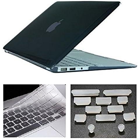 HYAIT 3in 1Ultra Sottile Cristallo Hard Case + tastiera copertura + Anti-Dust Plugs per Apple Macbook Air da 11.6A1370e A1465, colore: nero