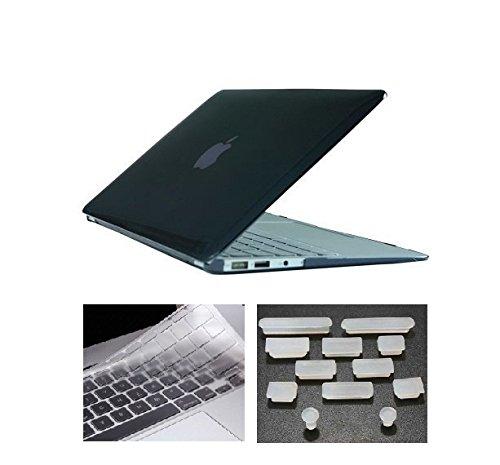 HYAIT 3in 1Ultra Sottile Cristallo Hard Case + tastiera copertura + Anti-Dust Plugs per Apple Macbook Air 13,3A1369e A1466-Nero