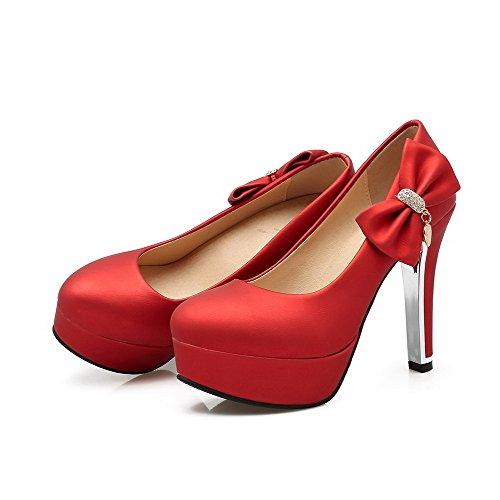 VogueZone009 Femme Mosaïque Matière Souple à Talon Haut Tire Rond Chaussures Légeres Rouge
