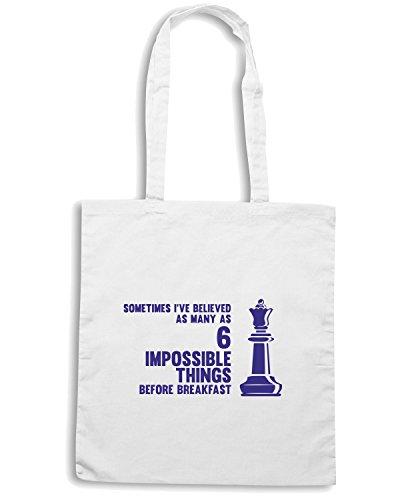 T-Shirtshock - Borsa Shopping FUN0208 08 20 2013 Six Impossible Things T SHIRT det2 Bianco