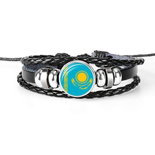 Zentralasien Nationalflagge Geflochtene Frauen Herren Leder Armband Glas Cabochon Charm Armband