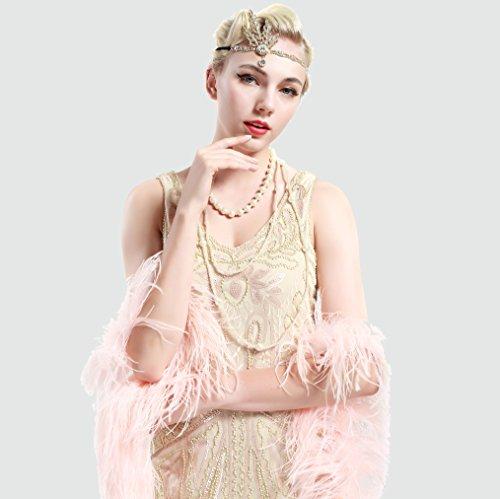 Babeyond® Flapper Great Gatsby Inspiriert Art Deco 1920 Blattmedaillon Perle Kopfschmuck Kopfband runden Goldene - 6