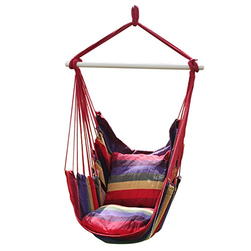 ANPI Hammock Chair Rope Hanging Swing Set, Garden Hanging Rope Hammock Chair Porch Swing Seat with Two Cushions for Indoor Outdoor Yard Porch Patio, Hot Colors
