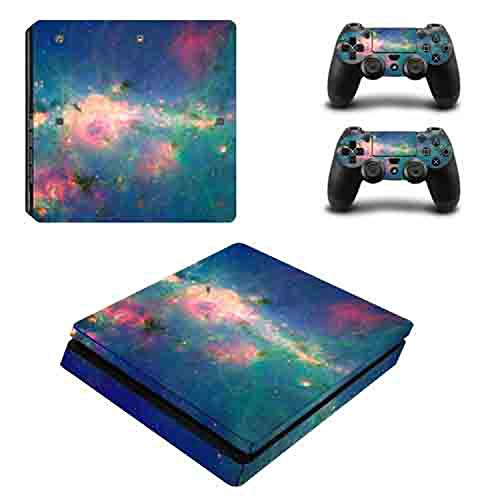 Price comparison product image WELLDRESSED Nebula Star Clouds Vinyl Skin Sticker Cover For PS4 Slim Console with 2 Controllers Decal For Sony PlayStation 4 Accessories, 1