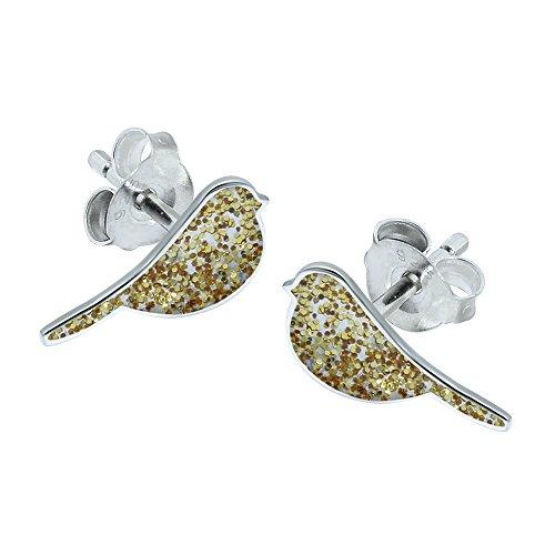 Katy Craig Glitzer-Ohrringe aus Sterling-Silber, Vogel-Design, Goldfarben