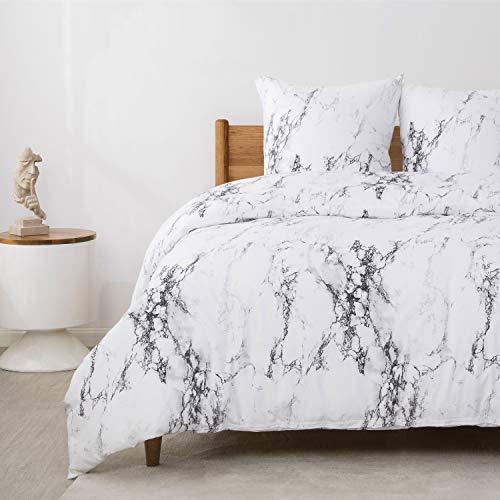 Bedsure Bettwäsche 135x200 cm weiße Bettbezug Set mit Marmor Muster, 2 teilig microfaser Bettwäsche Flauschige Bettbezüge mit Reißverschluss und 1 mal 80x80cm Kissenbezug