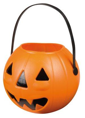 Boland 74482-Halloween-Korb in Kürbisform für Süßes oder Saures, 14x 17cm