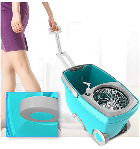 dongzhifeng Mops and Buckets Spin Mop Bucket Portable Magic Double Drive Stainless Steel Hand Pressure Rotating with Head Household Floor Cleaning Set Blue