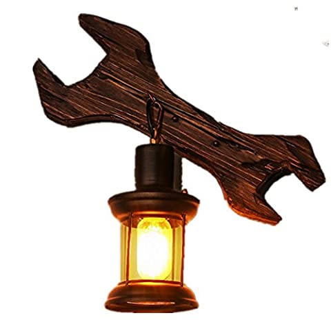 BJVB verre solide bois bouton mur lampe rétro industrielle vent vêtements Boutique personnalité créatrice Bar Lnternet cafés éclairage de salon bois massif demande 10 à 15 mètres de la place (10 * 33 * 40 cm)