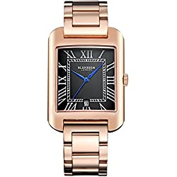 Blenheim London® B3180 Curve Rose Gold Watch Black Roman Numeral with Blue Hands with Stainless Steel Strap
