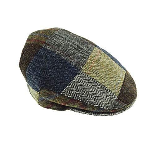Herren Authentische Harris Tweed Patch Cap Gr. 54, Multi