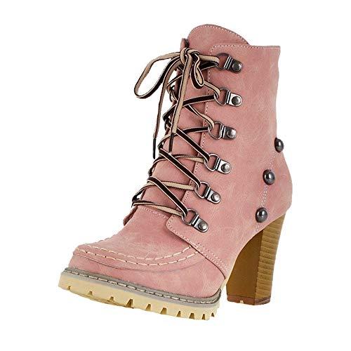 MYMYG Damen Schlüpfen Stiefeletten Freizeit Nieten Schuhe Rutschfeste Schnürstiefel High Heel Short Tube Lace-Up Boots Flache Schuhe Langschaft