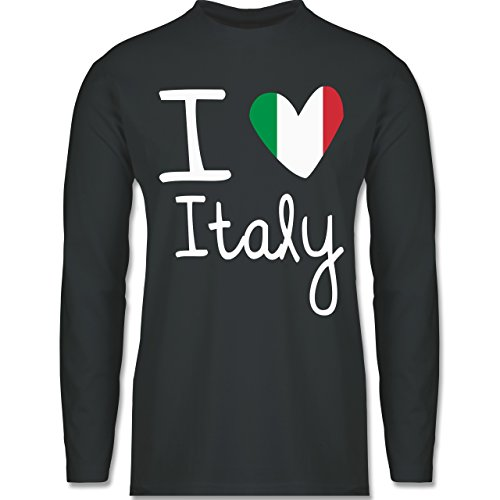 EM 2016 - Frankreich - I love Italy - Longsleeve / langärmeliges T-Shirt für Herren Anthrazit
