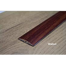 Threshold Transition Strip - 40mm- 7 Colours Wood Effect Cover Laminate Wooden Floor Door Edging for connecting fitted carpets with parquet floor or terracotta tiles at differences of levels by TMW Profiles (Walnut)