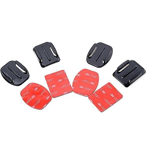 XCSOURCE® 4psc Kit de fixation pour Casque fixation adhésive collante plate incurvée Pour GoPro Hero 1 2 3 3+ 4 OS33