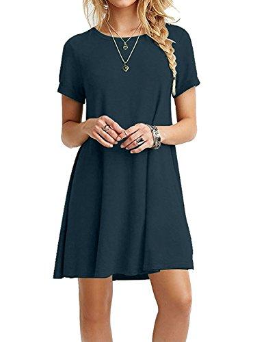 Your Cozy Ihr Gemütliches beiläufiges Blaues Kleid für Frauen Langarm Tunika Tshirt Kleid Swing Prime (Blau-L)