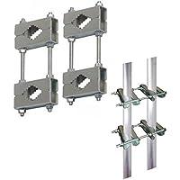 Abrazadera doble; Juego de 4 abrazaderas-pares; Para engorde de engorde - montaje (alargador) o de montaje de mástil en balcón barandilla