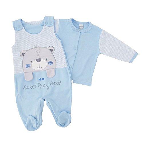 NEU | Jungen Set Shirt und Strampler | Bär Streifen weiß blau | 56 62 68 74 1 Monat (56) (Bär Strampler)