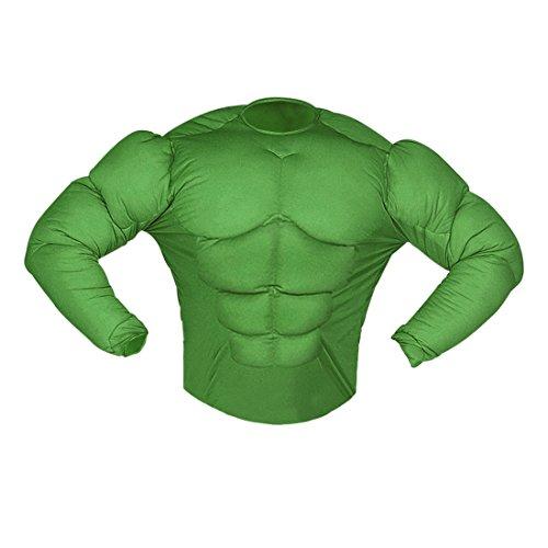 Amakando Hulk Muskelkostüm Superheldenkostüm Sixpack L 52 Comic Muskel Shirt grün Superhelden Kostüm Karnevalskostüme Herren Halloween Outfit Superheld Verkleidung