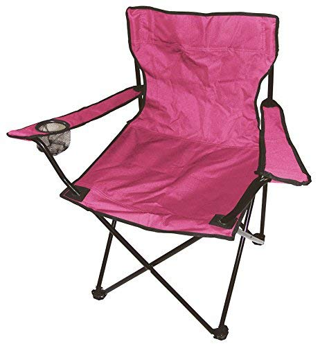 Spetebo Camping Klappstuhl in 7 Farben - Campingstuhl, Anglersessel mit Getränkehalter (pink) -