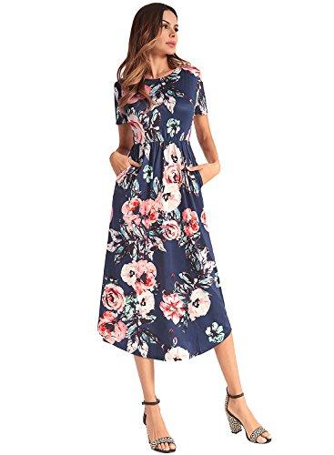 Frauen-Blumendruck-Sleeveless Boho-Kleid-Dame-Abend-Partei-langes Maxi Kleid Style-3-Marine(Kurzarm)