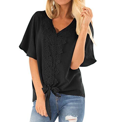 Pullover Sweatshirt für Damen,Kobay 2019 Halloween Heiligabend Weihnachten Frauen Sommer Kurzarm Flare Sleeve Bow Bluse Casual T Shirt Bluse Tops Sweater -